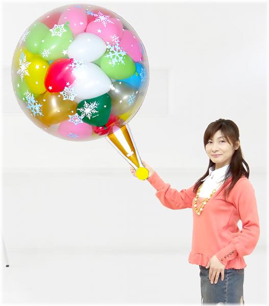 (パーティーグッズ・誕生日サプライズ・プレゼント)クラッカーバルーン50雪柄カラフルバージョン!