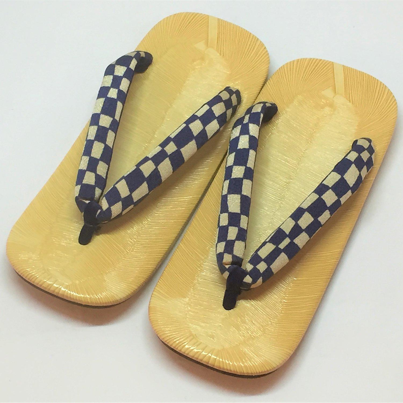 ★LLサイズ夏の特価品★お手軽雪駄 格子ブルー