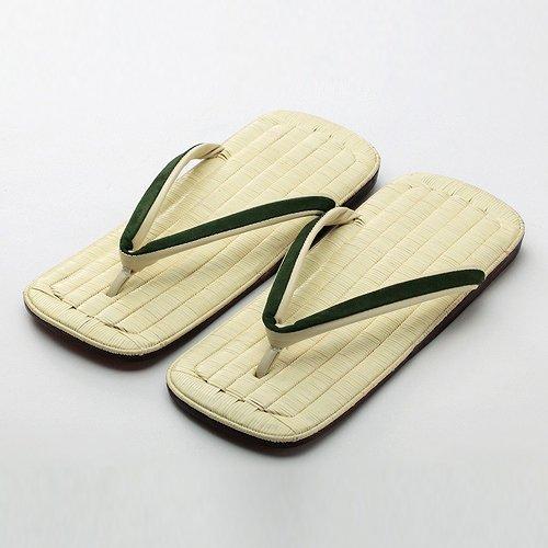 特選最高級雪駄 籐表(ト表) 福林鼻緒(深緑)
