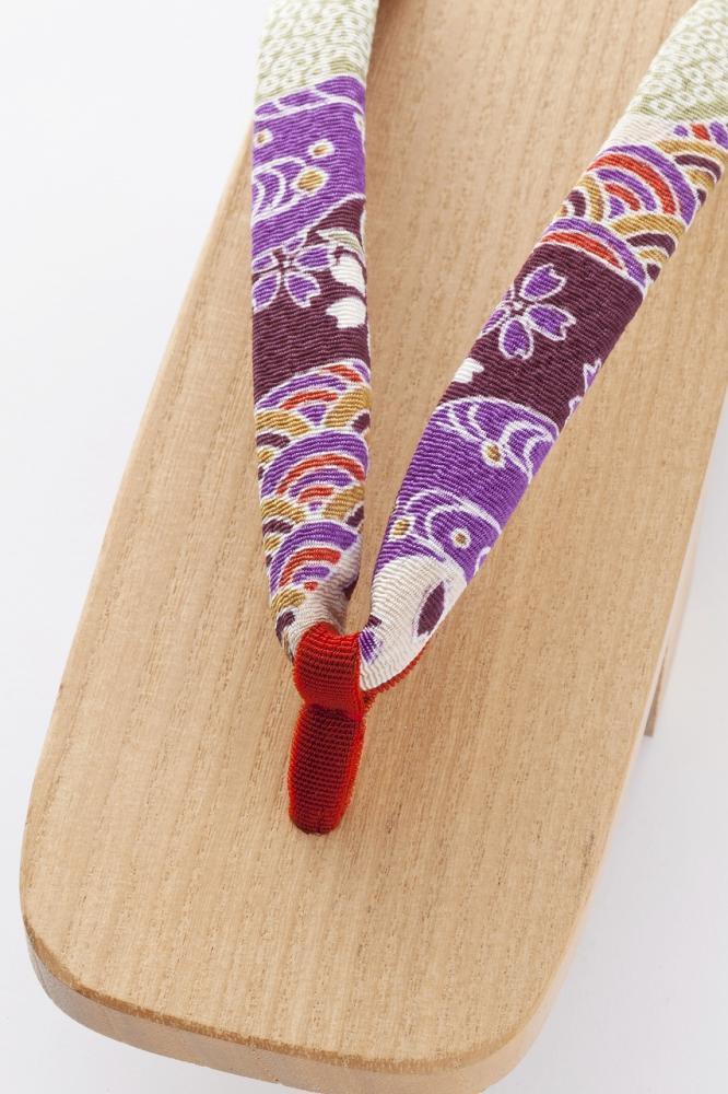 女性下駄 白木芳町 華祭(紫)
