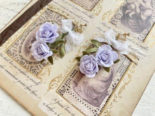 【Henriette】ミスティックパープル薔薇のイヤリング