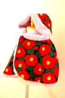 ★一点物・受注作製★和柄・ポンチョ、ケープふわふわファー仕立て☆子供服サイズ70〜140