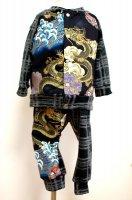 【即納】和柄 ベビー服セット カーディガン&モンキーパンツ 龍とチェック サイズ90