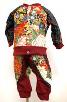 【即納】和柄 ベビー服セット カーディガン&モンキーパンツ エンジに大花と孔雀 サイズ80