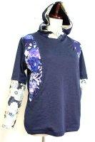 ★一点物・受注作製★和柄・前ポケット切替重ね着風長袖Tシャツ☆レディースS〜5L