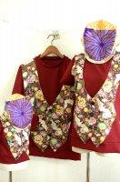 ★一点物・受注作製★和柄・ベスト一体型Tシャツ長袖・半袖☆メンズS〜5L