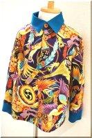 ★一点物・受注作製★和柄・カフス&襟付き長袖シャツ☆メンズS〜5L