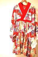 ★一点物・受注作製★和柄・着物風袖カシュクールバルーンワンピース☆レディースS〜5L