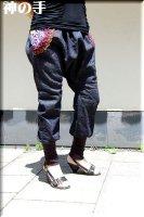 ★一点物・受注作製★和柄ポケット/シンプルデニムサルエルパンツ☆レディースS〜5L