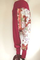 【即納】和柄 サルエルパンツ 着物リメイク  ワインレッドに豪華鳥や花