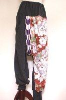 【即納】和柄 サルエルパンツ 着物リメイク  グレーに豪華鳥や花