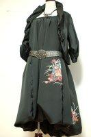 【即納】和柄2WAYバルーンスカート&ワンピース 着物リメイク 黒に花
