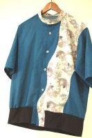 和柄・メンズ半袖ローンシャツ・ブルーに鯉/お父様へのギフト