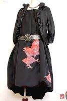 【即納】和柄着物リメイク2WAYバルーンスカート&ワンピース/黒正絹