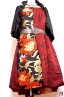 【即納】和柄2WAYバルーンスカート&ワンピース/赤茶に豪華花刺繍