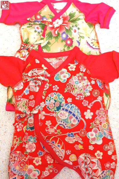 00a262db4e813 赤ちゃんの和柄服・ピンク、赤、蝶 コンビ肌着&短肌着-手作り子供服
