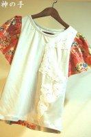 バタフライスリーブの和柄Tシャツ・女の子キッズ
