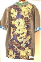 ★一点物・受注作製★和柄・スキッパー衿付き半袖Tシャツ☆メンズS〜5L