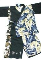 黒に虎と桜和柄甚平・男の子キッズ服