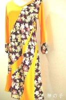レディース和柄アシンメトリーワンピース・黄色&紫