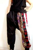 【即納】和柄サルエルパンツ/黒に着物帯×金彩・メンズ,レディース