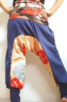 【即納】和柄サルエルパンツ/パープルアッシュに着物花刺繍・メンズ,レディース