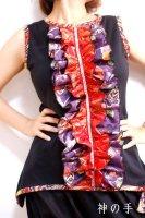 【即納】和柄大人可愛い前フリルタンクトップ・黒赤紫レディースL〜2L