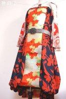 【即納】和柄2WAYバルーンスカート&ワンピース/ネイビー橙花刺繍