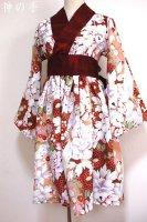 【即納】着物襟風カシュクールワンピース・絢爛鳥花