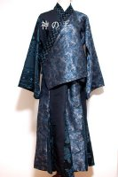【即納】和装・羽織&マーメイドスカート・セットアップ/銀鼠×大島調