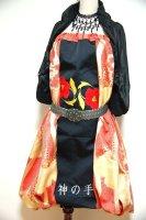 【即納】和柄2WAYバルーンスカート&ワンピース/黒赤金に花刺繍