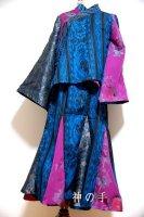 【即納】羽織&マーメイドスカート 和装セットアップスーツ 和柄 青黒紫花