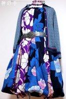 【即納】和柄2WAYバルーンスカート&ワンピース/青薔薇×紫花