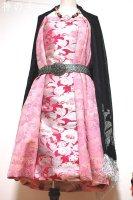 【即納】和柄2WAYバルーンスカート&ワンピース/チェリーピンク花×桃