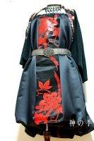【即納】和柄2WAYバルーンスカート&ワンピース/黒に朱赤花