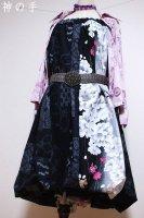 【即納】和柄2WAYバルーンスカート&ワンピース/黒紺シック花