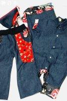 和柄とデニムで親子おそろい・前掛け、カバーオール、パンツ、化粧ポーチ