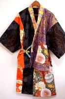 メンズ派手渋和柄甚平・黒×紫×赤×橙×金