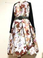 【即納】和柄2WAYバルーンスカート&ワンピース/孔雀と大輪の花