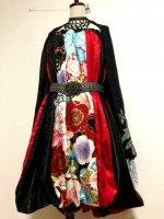 和柄2WAYバルーンスカート&ワンピース/赤黒の粋花