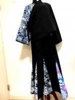 【即納】セットアップ スーツ 和装 羽織り&マーメイドスカート 和柄 黒×花魁芸者