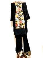 シャーリングギャザーワンピース&レギンス・黒に古典着物兜鶴