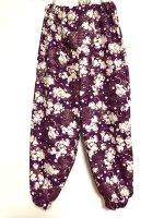 カフス付きパンツ・紫に夜桜和柄 女の子キッズに