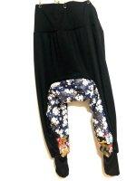 メンズ和柄サルエルパンツ 2柄股下切り替え 青桜と兜