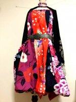 【即納】2WAYバルーンスカート&ワンピース 和柄 薔薇椿に鳳凰