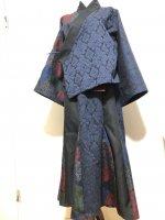 和装 セットアップスーツ 和柄 羽織り&マーメイドスカート アラベスク×着物絣