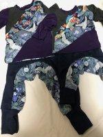 兄弟リンクコーデ 和柄ロンT&サルエルパンツ 鶴紫藍