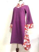 【即納】シルエット美しい 和柄着物襟風アシメントリーワンピース 紫桜 M