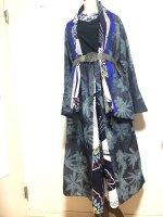【即納】デニムと和柄のジャケット&袴風ワイドパンツスーツ セットアップ 青と蝶 2L〜3L