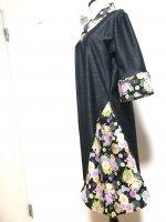 シルエット美しい 和柄着物襟風アシンメトリーワンピース 黒猫 4L